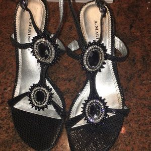 A. Marinelli Size 8 Black Lizard Heel Sandals